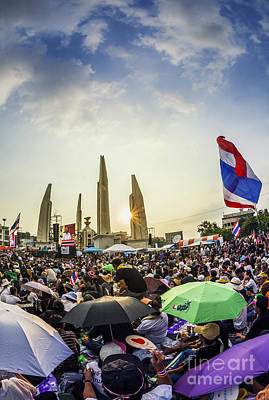 Thailand's Protest At Democracy Monument Against The Government  Art Print by Anek Suwannaphoom