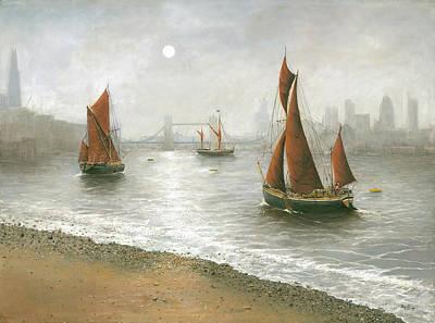 Thames Barges By Tower Bridge London Art Print by Eric Bellis