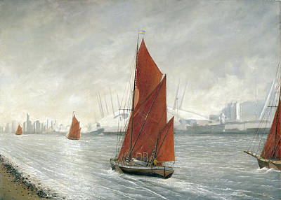 Thames Barges Passing The 02 Arena London Art Print