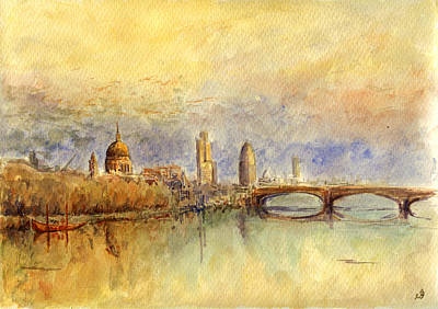 Warm Color Painting - Thames London by Juan  Bosco