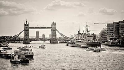 Belfast Bridge Photograph - Thames View Bw by Heather Applegate
