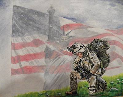 Stature Painting - Thank God For Our Military by Jim  Reale