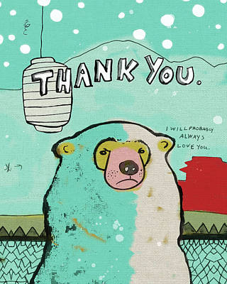 Occasion Painting - Thank You Bear by Lisa Barbero