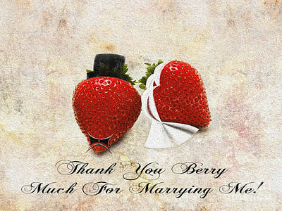 Passion Fruit Mixed Media - Thank You Berry Much For Marrying Me by Andee Design