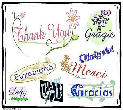 Digital Art - Thank You Greeting Card by Bobbee Rickard