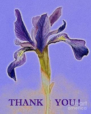 Painting - Thank You Iris On Blue by Barbie Corbett-Newmin