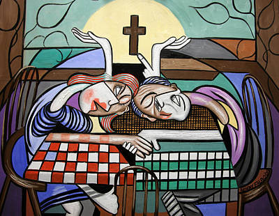Lamb Of God Painting - Thank You Jesus When Two Or More Are Gathered by Anthony Falbo