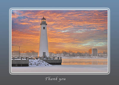 Thank You Lighthouse At Sunrise Art Print by Michael Peychich