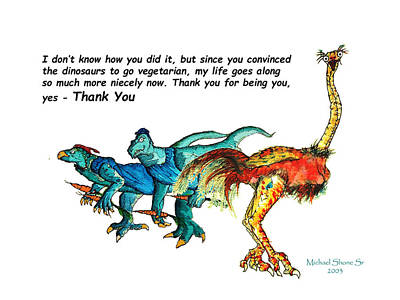 Painting - Dinosaur Thank You Card by Michael Shone SR