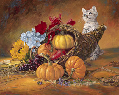 Cornucopia Painting - Thankful by Lucie Bilodeau