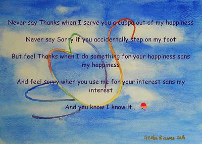 Painting - Thanks And Sorry by Geeta Biswas
