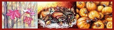 Shana Jackson Painting - Thanksgiving Autumnal Collage by Shana Rowe Jackson