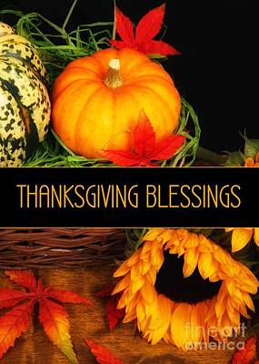 Digital Art - Thanksgiving Blessings Pumpkin by JH Designs