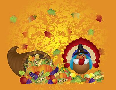 Thanksgiving Day Feast Cornucopia Turkey Pilgrim With Background Art Print