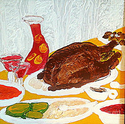 Painting - Thanksgiving Dinner 1 by Richard W Linford