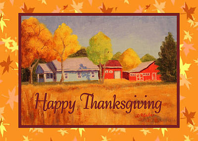 Painting - Thanksgiving Farm Card by Ruth Soller
