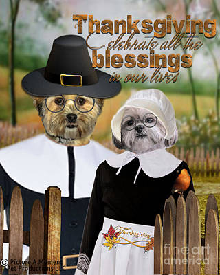 Digital Art - Thanksgiving From The Dogs-2 by Kathy Tarochione