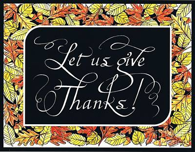 Give Thanks Painting - Thanksgiving Print by Christine Schwander