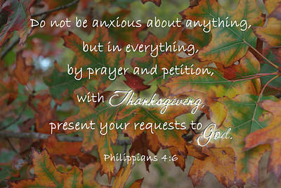 Photograph - Thanksgiving Requests Philippians by Robyn Stacey