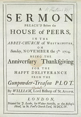 Thanksgiving Sermon Art Print by British Library