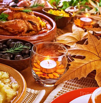 Banquet Photograph - Thanksgiving Table Decoration by Anna Om