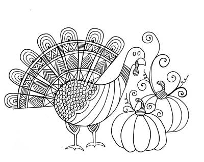 Fun Drawing - Thanksgiving Turkey by Neeti Goswami