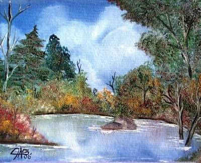 Art Print featuring the painting That Emerald Place Of Natures Beauty At Looking Glass Pond by The GYPSY And DEBBIE