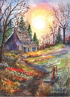Floral Hand-painted Frame Painting - That Old Cabin In The Woods by Carol Wisniewski