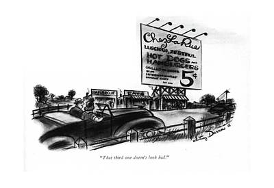 Hot Dog Stands Drawing - That Third One Doesn't Look Bad by Whitney Darrow, Jr.