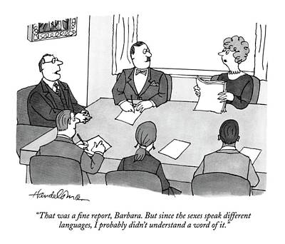 Boardroom Drawing - That Was A Fine Report by J.B. Handelsman