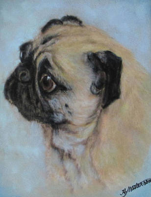 Pug's Worried Look Art Print by Harriett Masterson