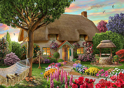 Floral Digital Art - Thatched Cottage by Adrian Chesterman