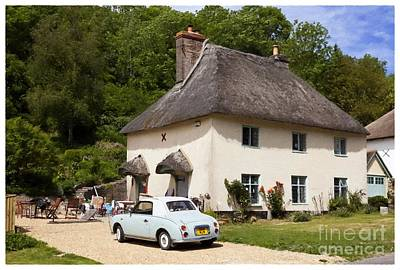 Charming Cottage Digital Art - Thatched Cottage And Vintage Car Milton Abbas Dorset England Uk by Jon Boyes