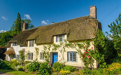 Thatched Cottage In Dunster Somerset Art Print by David Ross