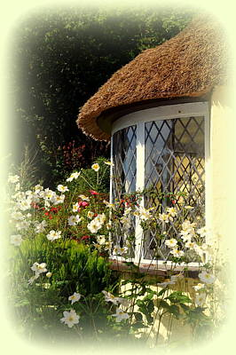 Thatched Cottage Window Art Print by Carla Parris