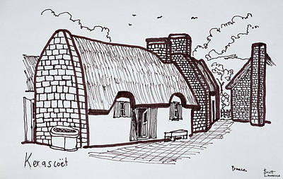 Pen And Ink Drawing Photograph - Thatched Houses, Kerascoet, Brittany by Richard Lawrence