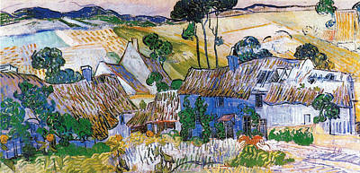 Digital Art - Thatched Houses  by Vincent Van Gogh