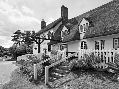 Photograph - Thatched Inn - Coach And Horses Bw by Gill Billington