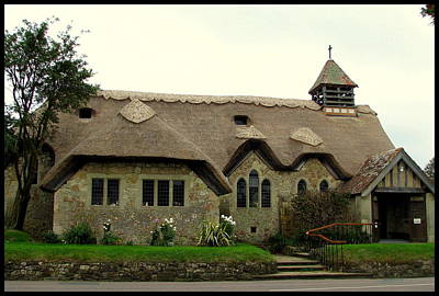 Photograph - Thatched St. Agnes Church In Freshwater Isle Of Wight With Border by Carla Parris
