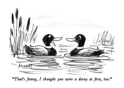 Waterfowl Drawing - That's Funny by Frank Modell