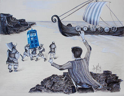 Viking Ships Drawing - That's My Box by Abigail Kraft