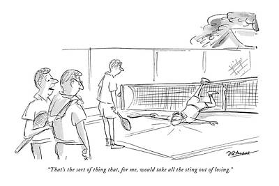 Tennis Drawing - That's The Sort Of Thing That by Frank Modell