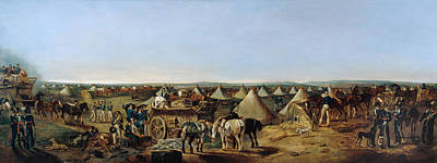 Military Base Painting - The 10th Regiment Of Dragoons Arriving by A.E. Eglington