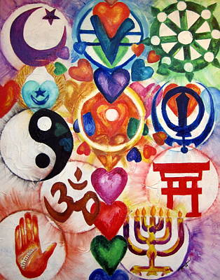 Buddhist Painting - The 12 World Religions by Sister Rebecca Shinas