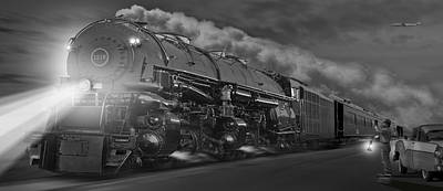 Steam Dreams Photograph - The 1218 On The Move - Panoramic by Mike McGlothlen
