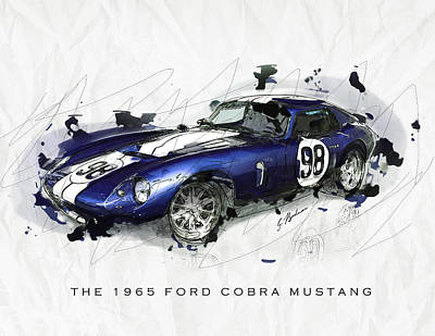 Cobra Digital Art - The 1965 Ford Cobra Mustang by Gary Bodnar