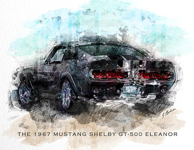 Classic Cars Digital Art - The 1967 Shelby Gt-500 Eleanor by Gary Bodnar