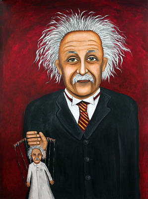 Marionette Painting - The 2 Einstein's by Leah Saulnier The Painting Maniac