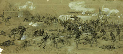 Chinese American Drawing - The 24th Corps Charging A Fort To The Left by Quint Lox