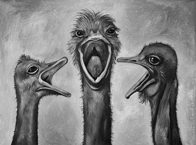 Ostrich Painting - The 3 Tenors Bw by Leah Saulnier The Painting Maniac